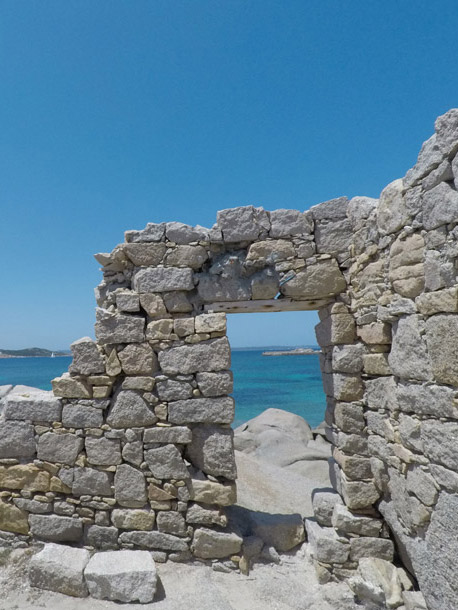 sea view from ruins of a house at la maddalena sardinia seen during a private boat tour in rib with skipper for little groups by emerld cruises agency